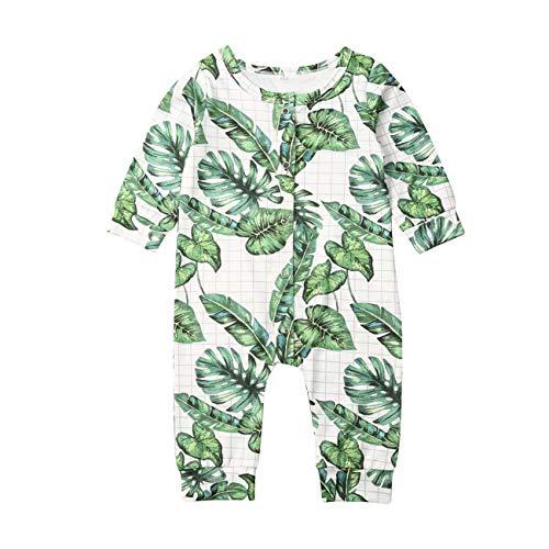 Wide.ling 1 Stks Casual Pasgeboren Baby Romper Peuter Gril Jongen Lange Mouw Groene Weegbree Bladeren Jumpsuit Herfst Outfits