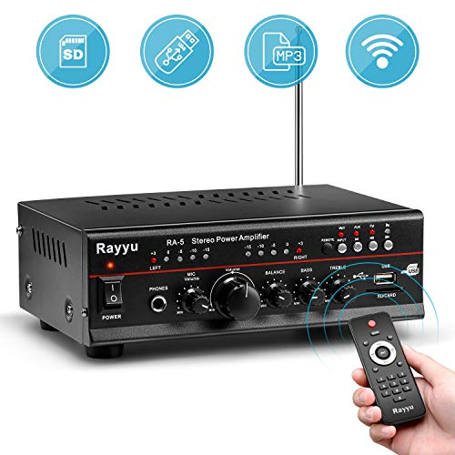 """Rayyu Professional Digital Stereo Reverb MP3 Amplifier, Bluetooth Compatible Home Audio Power Amplifier, 2x125W Mini Dual Channel, 1/4""""Microphone Input Jacks, Compact with USB/SD/AUX/FM Radio RA-5"""