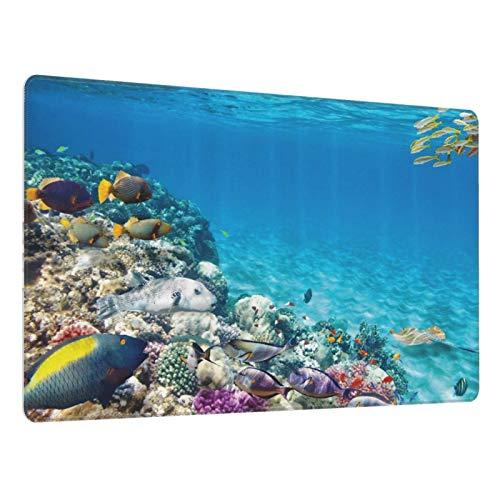 Alfombrilla de ratón para Juegos30X80CM,Base de Goma Antideslizante,Clara Vida Marina submarina Mundo Animal Corales Peces Tropicales y mantarraya,Adecuada para Jugadores,PC y portátiles