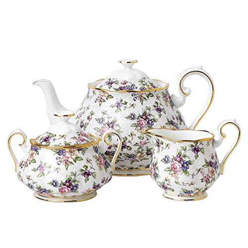 Royal Albert 100 Years Anniversary Collection 1940 English Chintz 3 Piece Tea Set, 8""
