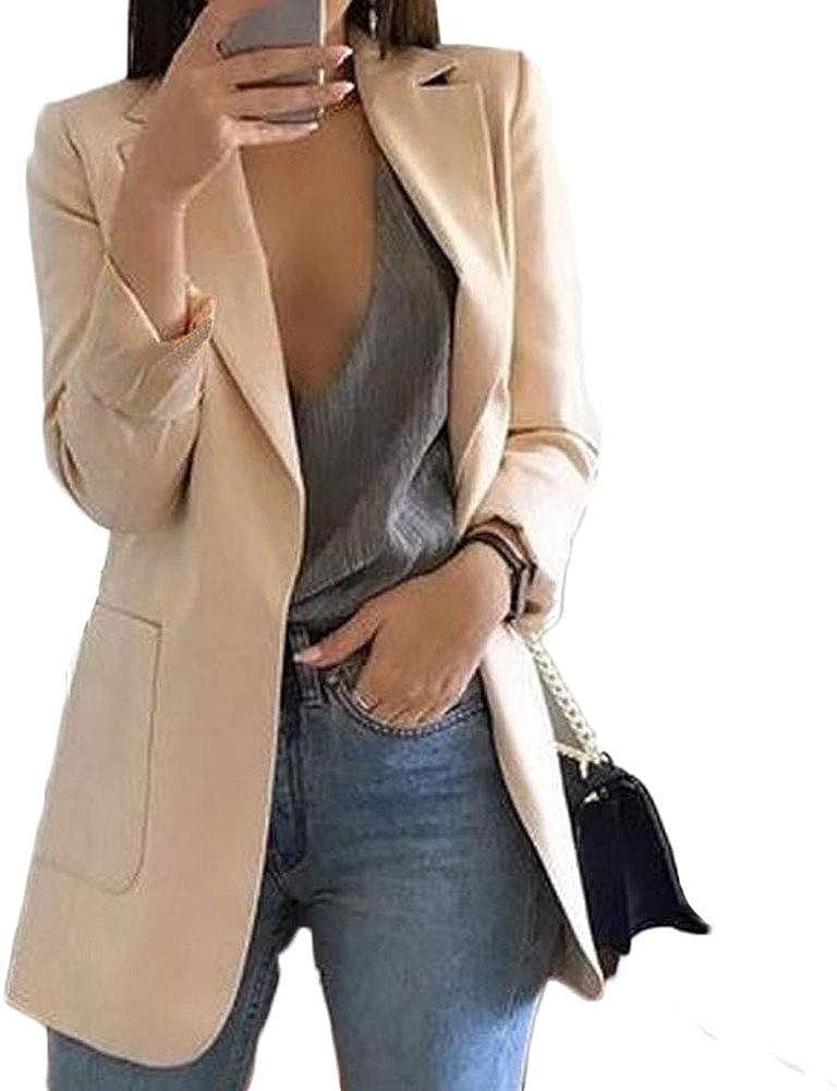 Women Fashion Casual Lapel Collar Jacket Coat Long Sleeve Blazer Outwear