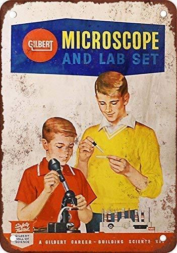 Odeletqweenry Tin Sign, Gilbert Microscope en Lab Set Vintage Look Reproductie Metalen Tin Teken 12