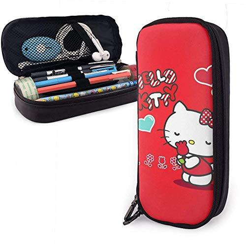 Estuche de lápices Hello Kitty con rosa de gran capacidad, bolsa de maquillaje, bolsa de papelería con doble cremallera para la escuela/oficina