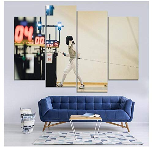 DCYHSA Dekoration 4 Stück Fechtausrüstung Schwert Sport Bild Moderne Wandkunst Poster Leinwanddrucke Kein Rahmen Größe C