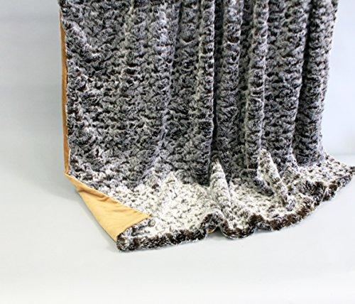 Luxus Kuscheldecke Wohndecke Tagesdecke Fellimitat aus hochwertigem Material, Opossum/hellbraun, ca. 150 cm x 200 cm