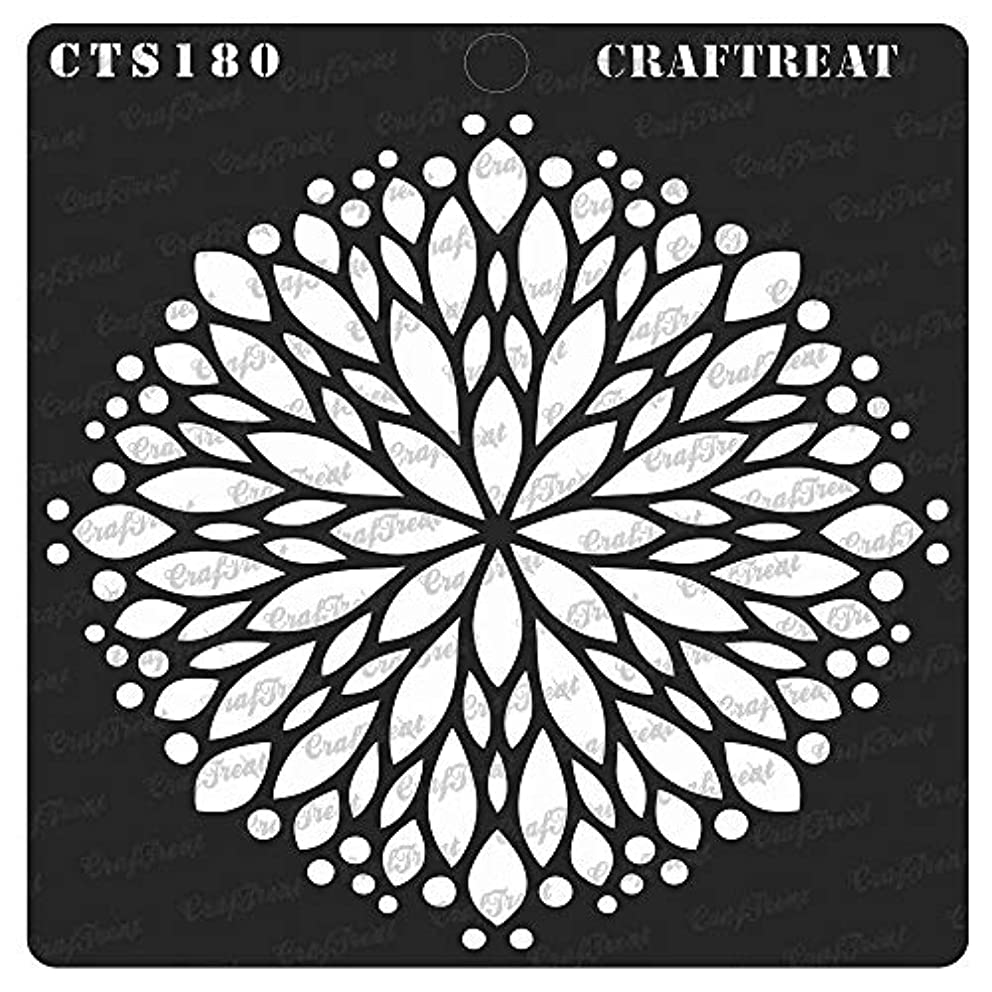 CrafTreat Stencil - Flower Burst   Reusable Painting Template for Journal, Home Decor, Crafting, DIY Albums, Scrapbook, Decoration and Printing on Paper, Floor, Wall, Tile, Fabric, Wood 6