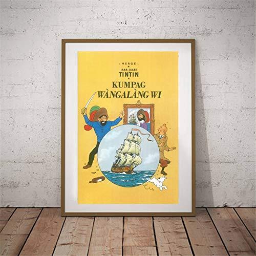 Danjiao Die Abenteuer Von Tim Und Struppi Kunst Poster Wandbilder Tim Und Struppi Poster Leinwand Kinderzimmer Cartoon Gemälde Wandkunst Dekoration Wohnzimmer 60x90cm