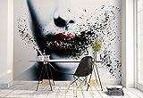 Vlies Fototapete Fotomural - Wandbild - Tapete - Frau Gesicht Rote Lippen Verschmierte - Thema Kunst und Kreativ - MUSTER - 104cm x 70.5cm (BxH) - 1 Teilig - Gedrückt auf 130gsm Vlies -...