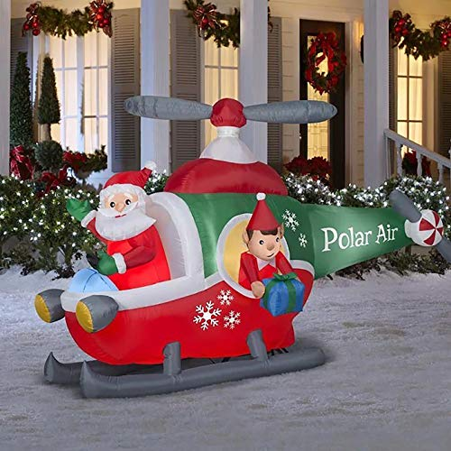 Gemmy 9Ft. Wide Christmas Inflatable Santa in Helicopter with Elf Helper Indoor/Outdoor Holiday Decoration