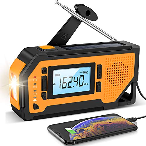 【2021 Newest】 Emergency Solar Hand Crank Radio Aiworth AM/FM/NOAA Weather Radio Portable Hurricane Survival Radio with LED Flashlight Reading Lamp 2000mAh Cell Phone Charger SOS Alert