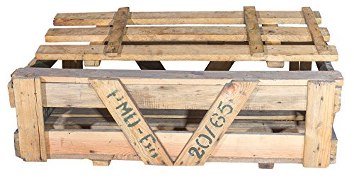 Historische Munitionskiste in Natur Optik - alte gebrauchte Originale Holztruhe Munikiste Transportkiste Patronenkast Sitzbank Wäschetruhe Couchtisch Antik 92x55x28cm