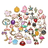 50 Pieces Alloy Enamel Cute Mix Shape Mermaids Animals Girls Charm Pendant DIY Jewelry Making Ear Hook...