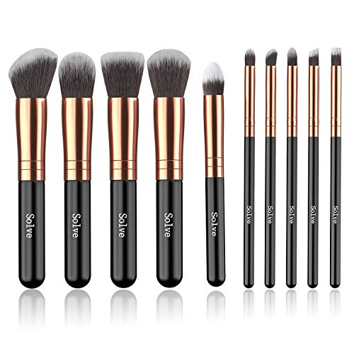 Makeup Brushes SOLVE Premium Makeup Brush Set Synthetic Cosmetics Foundation Powder Concealers Blending Eye Shadows Face Kabuki Makeup Brush Sets 10pcs Rose Golden