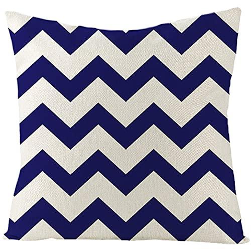 Daesar Cojines Decorativos para Sofa,Funda de Cojin Sin Relleno,Patrón de Onda Fundas Cojines Terciopelo 50x50 Azul Oscuro Beige