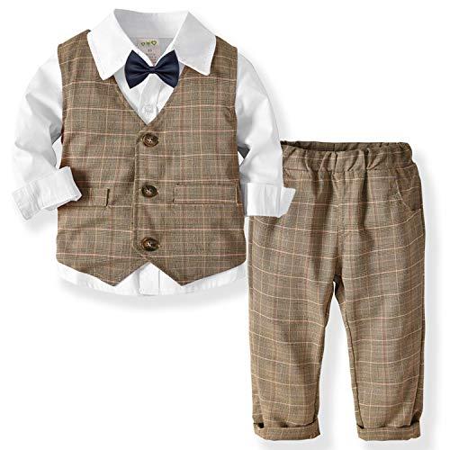 ZOEREA 3 Piezas Trajes de Bebés Niños Chaleco + Camisa con Pajarita + Pantalones Niño Caballeros Bautismo Boda Bautizo Patrón de Cuadrícula Marrón Conjuntos de Ropa Blanco, Etiqueta 90