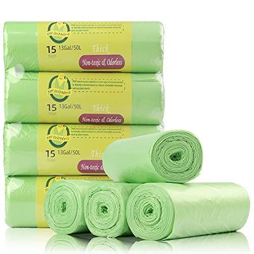 Bin Bags Biodegradable, Set 4 Rolls Counts 60 Bags, 50 L Bin Liners Trash Bags for Kitchen, Household, Garden,Office. 100% Recycled,Tough, Degradable, (13 Gallon),Green