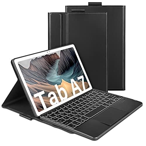 """Jelly Comb Funda con Teclado Touchpad para Samsung Galaxy Tab A7 (SM-T505/T500/T507) 10.4"""" 2020, 7 Colores Retroiluminada Teclado Bluetooth para Tableta Samsung, Español Ñ, Negro"""