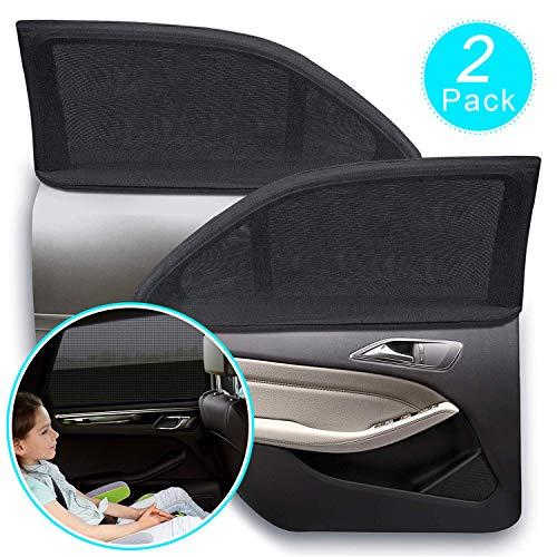 Rakaraka Sonnenblende Auto Kinder, Sonnenschutz Auto Baby mit Zertifiziertem UV Schutz, Universal Sonnenblende Auto Netz, für Baby, Kinder, UV-Schutz Schattierung und Wärmedämmung - 2 Stück