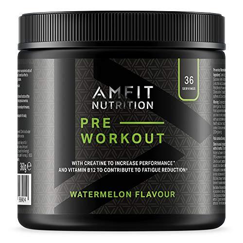 Amazon Brand - Amfit Nutrition - Pre-Workout  Protein - Watermelon Flavour 360g , 36 servings