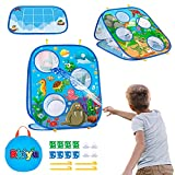 Bean Bag Toss Game for Kids, Outside Toys Ages 3 4 5 4-8 Year Old Boys Girls Birthday or Christmas Best Gift, Toddler Games Collapsible Double Sided Outdoor Cornhole Board for Kids, 8 Beanbags