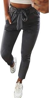 Sunnywill Damen Hosen Hosen Damen Hohe Taille Pluderhosen Frauen Bowtie elastische Taille beiläufige Hosen