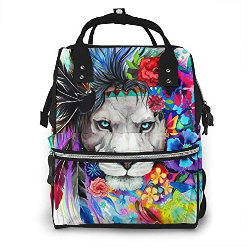 JUKIL Mochila de pañales Colorful Lion King Floral Diaper Backpack Large Capacity Baby Bags Multi-Function Zipper Casual Travel Backpacks for Mom Dad Unisex