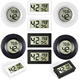 8 Pieces Mini Hygrometer Thermometer Electronic Temperature Humidity Meters Gauge Round Digital Hygrometer Monitor LCD Display Indoor Outdoor Hygrometer Thermometer for Greenhouse House Kitchen