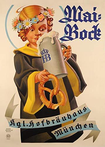 Vintage bieren, wijnen en sterke drank 'Mai Bock Bier', Duitsland, 1913, 250gsm Zacht-Satijn Laagglans Reproductie A3 Poster