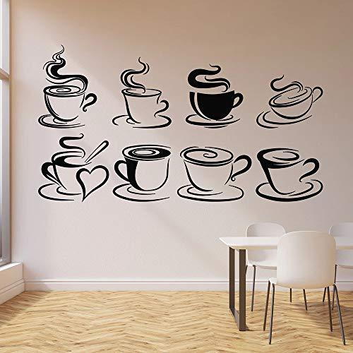 Calcomanías de pared taza café té tiempo de relajación café cocina restaurante decoración de interiores vinilo pegatina de ventana papel tapiz creativo