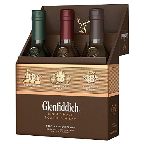 Glenfiddich Single Malt Scotch Whisky Collection Mix Pack (3 x 0,2 l) - 12 Jahre, 15 Jahre und 18 Jahre mit Geschenkverpackung