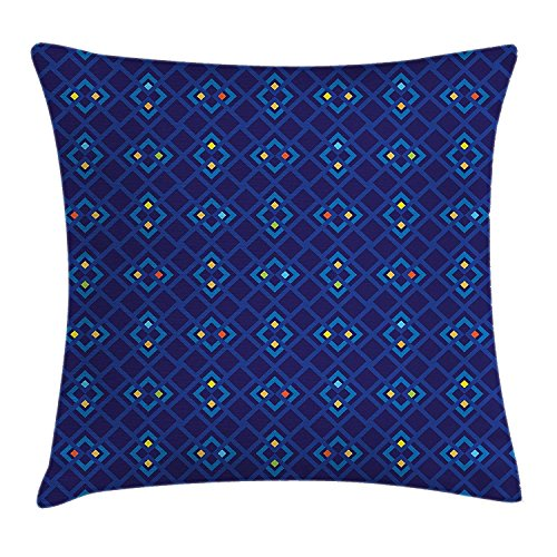 Geometric Mosaic Square Patterned Colorful Abstract Art Design, Decorative Square Accent Pillow Case, 18 X 18 inches, Blue Orange and Yellow