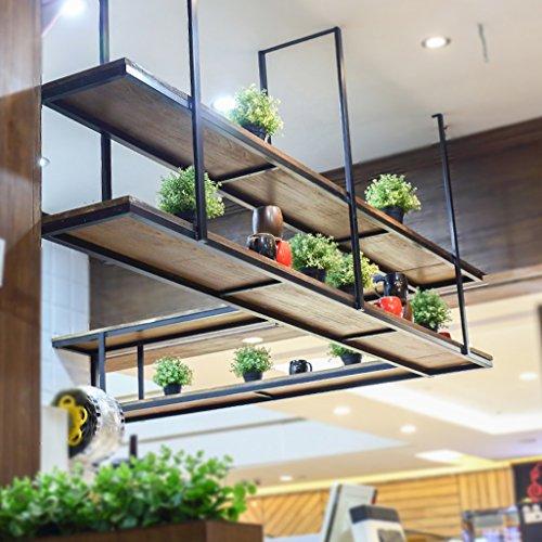 Rack de marchandises vivantes Retro Flower Racks-solide bois et fer restaurant réception murale étagère murale Suspendu plafond stockage rack fleur stand pour salon et balcon -Cabinets, supports & éta