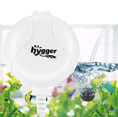 Hygger Quiet Aquarium Air Pump 1.5 Watt Energy Saving Mini Oxygen Pump for 1-15 Gallon Fish Tank with Accessories White