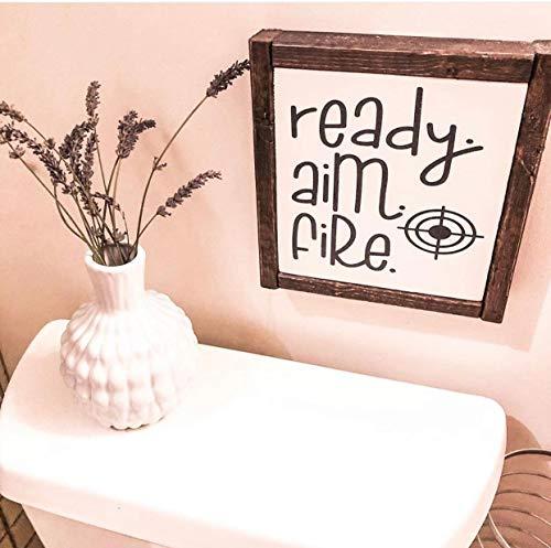 Erti567an Letrero para baño con Texto en inglés Ready Aim Fire