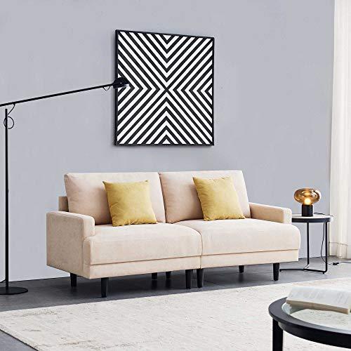Belissy Sofá de salón, sofá, sofá de 3 plazas, sofá de tela de 3 plazas, sofá de 3 plazas, sofá de tela de poliéster, muebles tapizados para pequeños apartamentos, diseño moderno, 180 cm (beige)