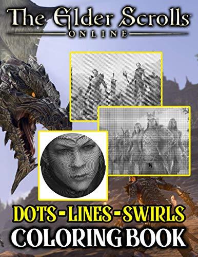 Elder Scrolls Online Dots Lines Swirls Coloring Book: Elder Scrolls Online Impressive Adult Diagonal Line, Swirls Activity Books For Women And Men Stress Relieving
