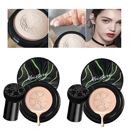 2 Sets Mushroom Head Air Cushion CC Cream for All Skin Makeup, Nude Makeup Moisturizing Concealer Lasting Brightening Liquid Foundation, Even Skin Tone (Natural color)