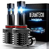 BEAMTECH 9005 LED Bulb, Fanless In Line HB3 Halogen Replacement 6500K Xenon White