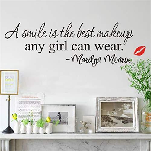 TAOYUE Een glimlach is De Beste Make-up Engels Spreuken Muursticker Rode Lippen voor Woonkamer Slaapkamer Decoraties Decals Behang Stickers