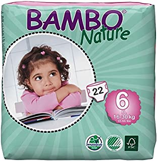 Bambo Nature Eco Friendly Baby Diapers Classic for Sensitive Skin, Size 6 (35-66 lbs), 22 Count