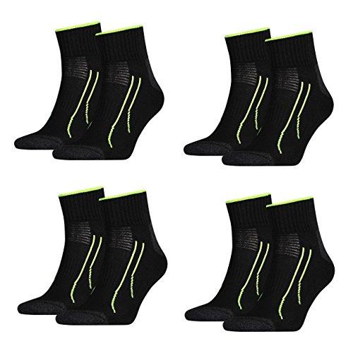 4 Paar unisex PUMA Quarter PERFORMANCE SHORT TRAIN Socken für Sport und Freizeit FARBWAHL, Grösse:43-46;Farbe:schwarz