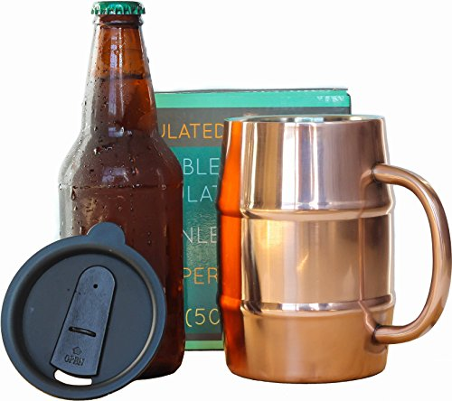 Insulated Beer Mug - Ice Cold to the Last Drop! Perfect Gift for Beer Lovers - Double Wall Stainless Steel, Copper Plated 17oz 500mL