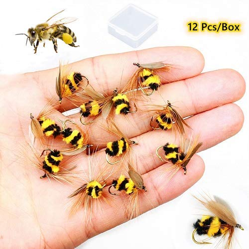 ZZWIF Fly Fishing Lures Bee Flies Fishing Kit Dry Flies Kit Insect Lures Hooks High Simulation Bass Salmon Trout Floating/Sinking 12 Pcs