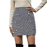 Falda Plisada de Cintura elástica para la Escuela Chica Mujer Super cómoda Falda elástica de Ajuste Botones de Estampado de Cuadros de Pata de Gallo Falda Corta de Cintura Alta Mini