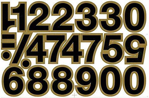(シャシャン)XIAXIN 防水 PVC製 ナンバー ステッカー セット 耐候 耐水 数字 キャラクター 表札 スーツケース ネームプレート ロッカー 屋内外 兼用 TS-140 (1点, ブラックXゴールド)