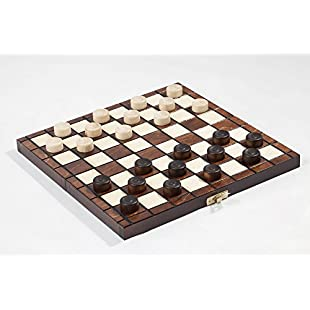 """10"""" Traditional Hand Crafted Wooden Draughts Checkers Set:Peliculas-gratis"""
