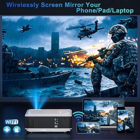 TOPTRO WiFi Projector with Case Home Theater Projector Compatible with Phone//TV Stick//PC//USB//HDMI//SD//DVD // PS4 Native 1080P 7500Lm Bluetooth Projector 4K // Zoom Support