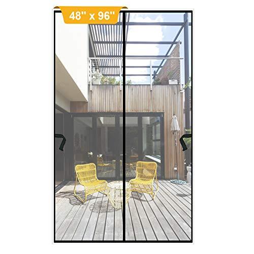 Magnetic Screen Door 48 x 96 inch, DIXLAMN Magnet Screen Door Mosquito Door Net with Heavy Duty Fits Door Size up to 46'x94' Max for Entry Door /Exterior Door /Interior Door /Kitchen Door/Patio Door