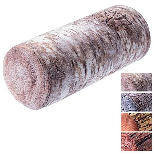 KADAX Nackenrolle, Kopfkissen mit waschbarem Bezug, geeignet für Allergiker, Kissen für Bett, Nacken, Schlaf, Dekokissen aus Schaumstoff, Nackenkissen, Relaxkissen (25 x 60 cm, Birke)