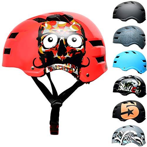 SkullCap BMX & Casco per Skater Casco - Bicicletta & Monopattino Elettrico, Design: Red Ocean, Taglia: M (55-58 cm)